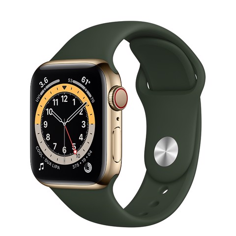 Apple Watch Series 6 GPS+Cellular 44mm (Gold Stainless Steel Case - Cyprus Green Sport Band)- Đang có hàng