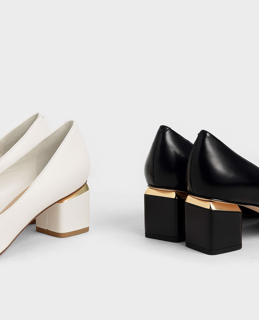 CHARLES & KEITH - Giày cao gót mũi nhọn Metal Accented Pointed