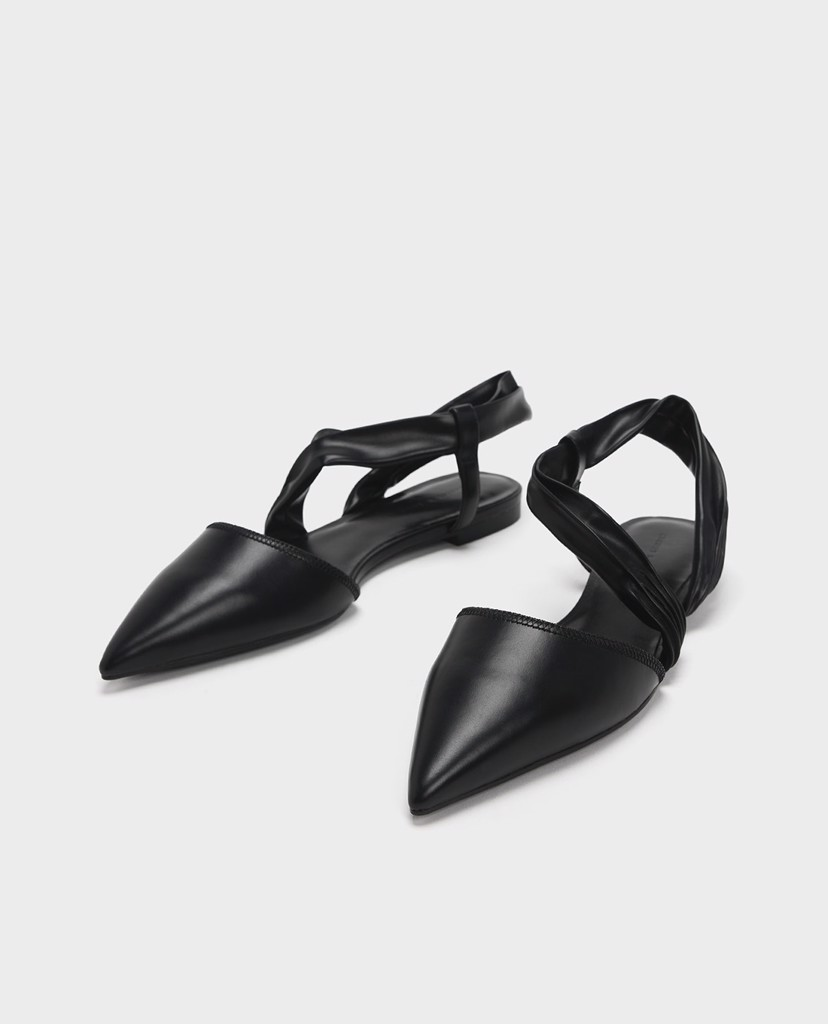 CHARLES & KEITH - Giày sandals nữ mũi nhọn Ruched Strap Covered Flat
