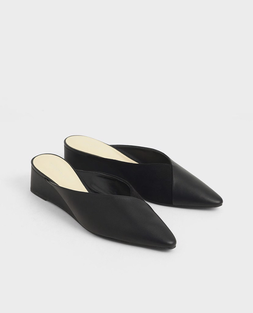 CHARLES & KEITH - Giày đế xuồng mũi nhọn Textured Pointed Toe Wedge