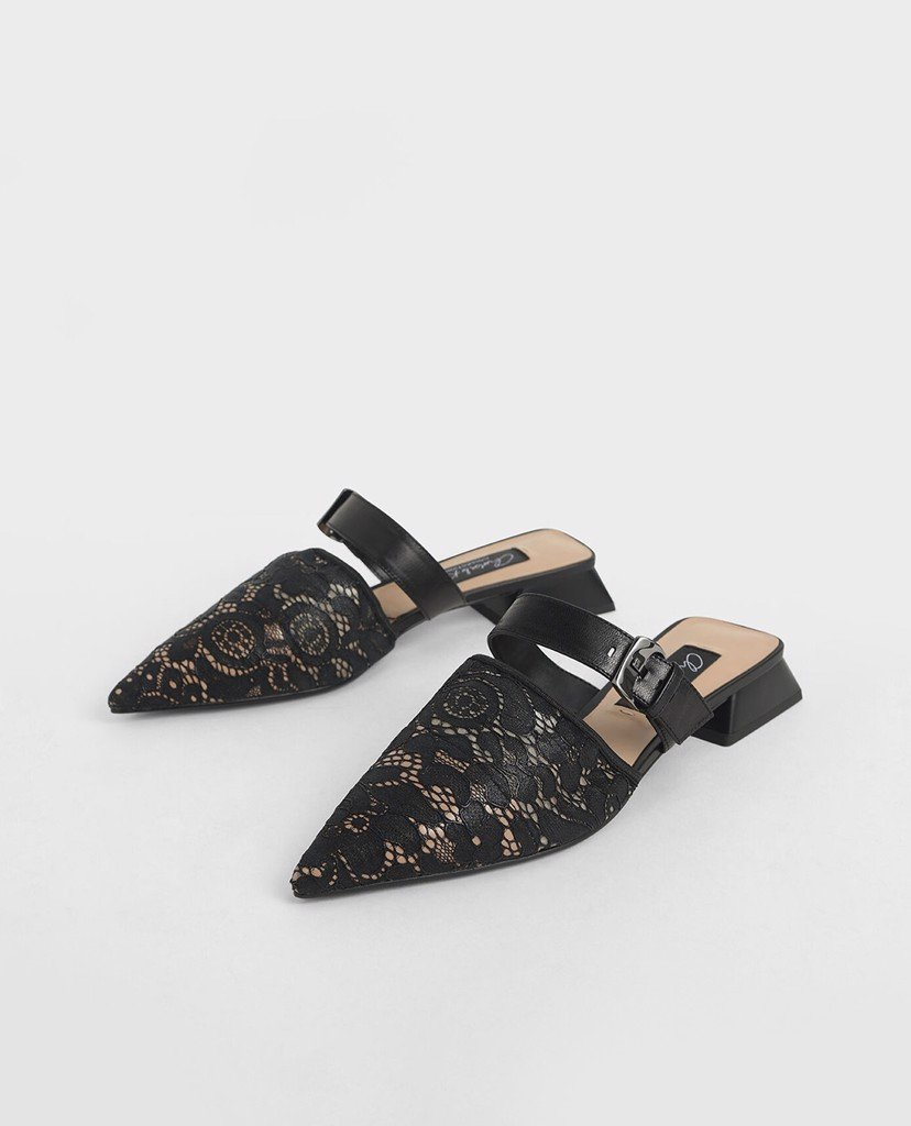 CHARLES & KEITH - Giày mules mũi nhọn Leather Lace Pointed