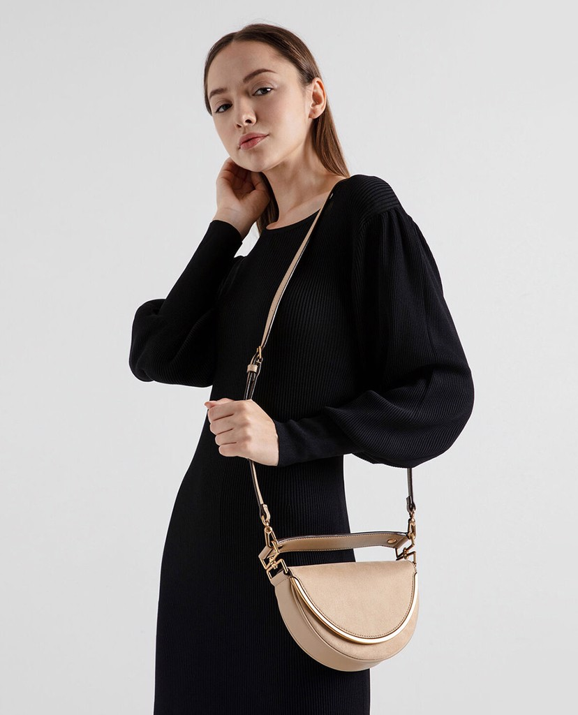 CHARLES & KEITH - Túi xách tay Textured Top Handle Semi Circle