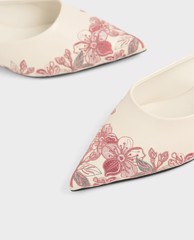 CHARLES & KEITH - Giày mules mũi nhọn Embroidered Floral
