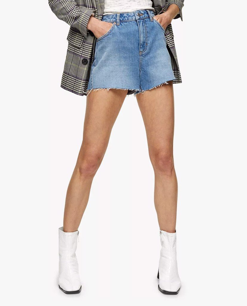 TOPSHOP - Quần shorts jeans nữ wash bạc Premium Blue Denim Mom
