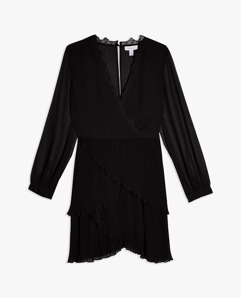 TOPSHOP - Đầm mini cổ V Black Pleated Ruffle
