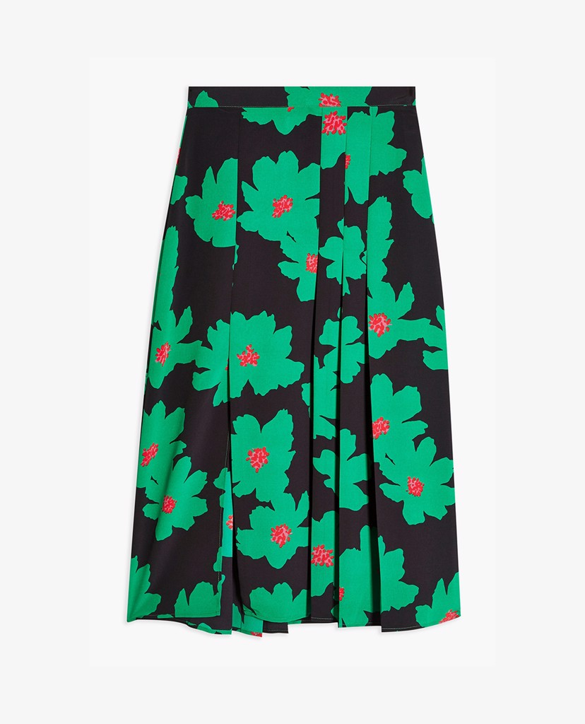 TOPSHOP - Chân váy midi xẻ tà PETITE Green And Black Floral Pleat