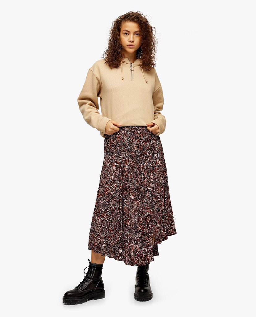 TOPSHOP - Chân váy midi Brown Animal Textured Pleated