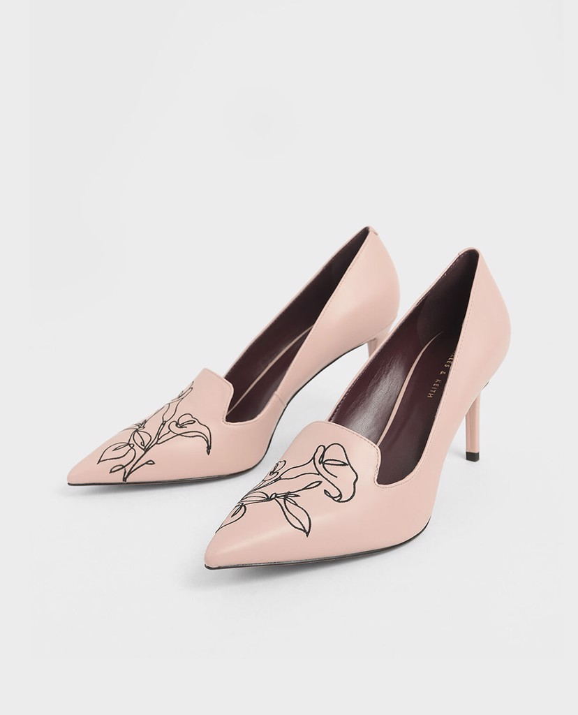 CHARLES & KEITH - Giày cao gót mũi nhọn Floral Embroidered Stiletto