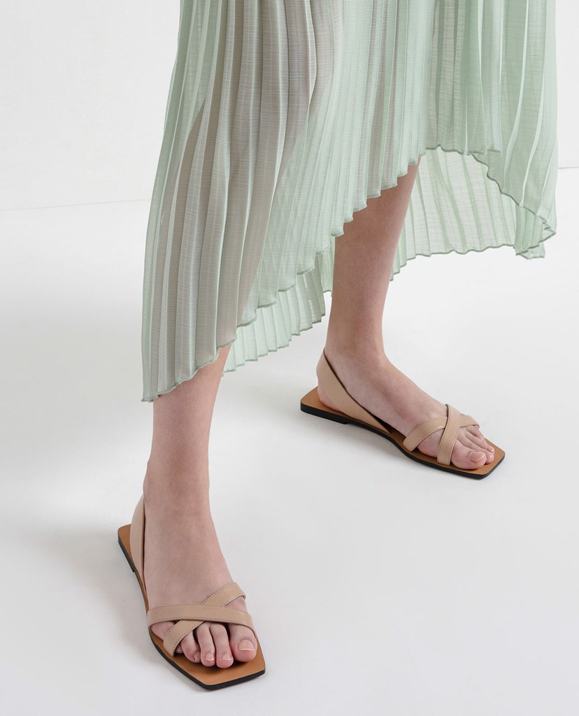 CHARLES & KEITH - Giày sandal Criss Cross Square Toe Slingback Flats