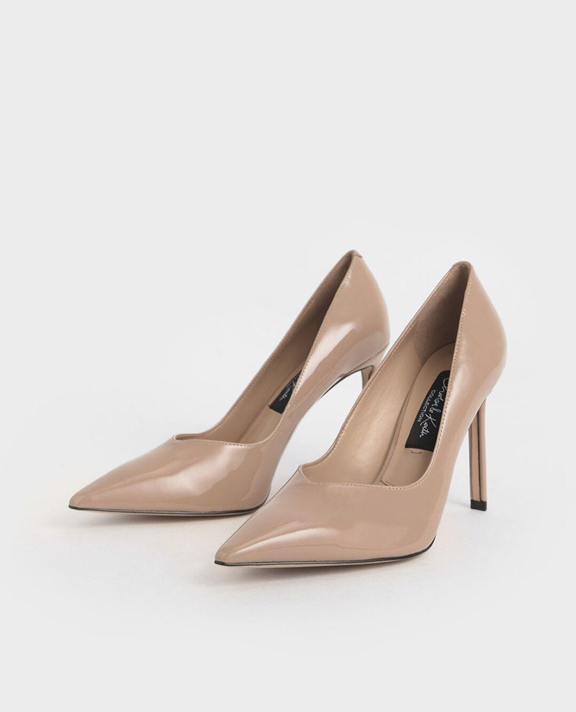 CHARLES & KEITH - Giày cao gót mũi nhọn Patent Leather Printed Pointed