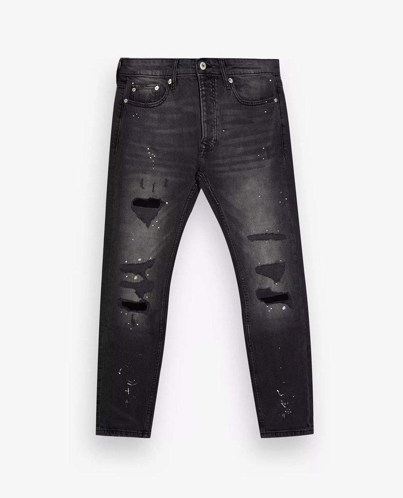 TOPMAN - Quần jeans nam skinny Washed Black Ripped Paint