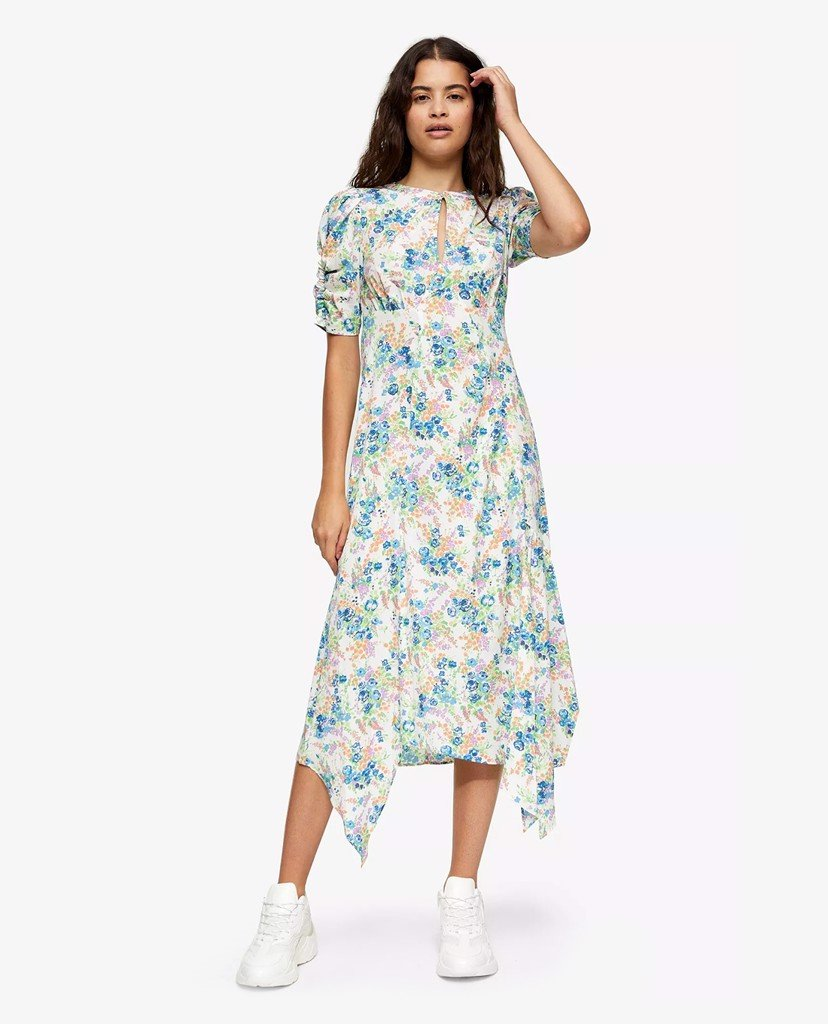 TOPSHOP - Đầm midi tay ngắn Ivory Floral Ruched Sleeve