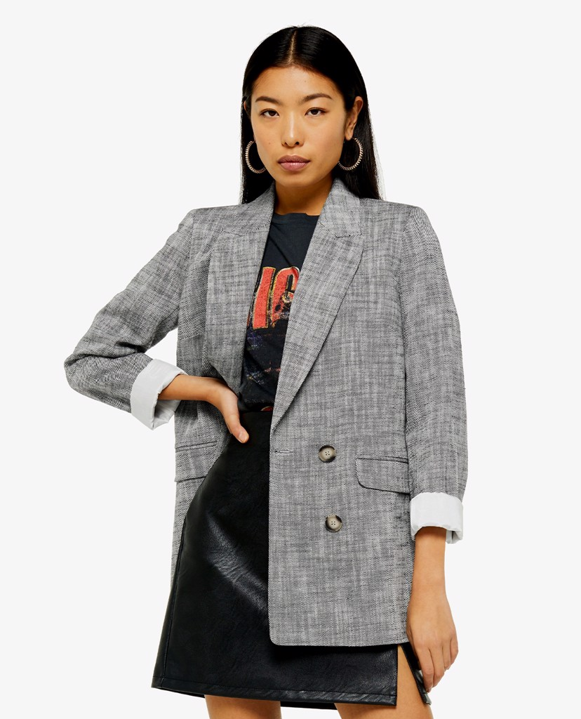TOPSHOP - Áo blazer nữ dáng dài Black And White Double Breasted