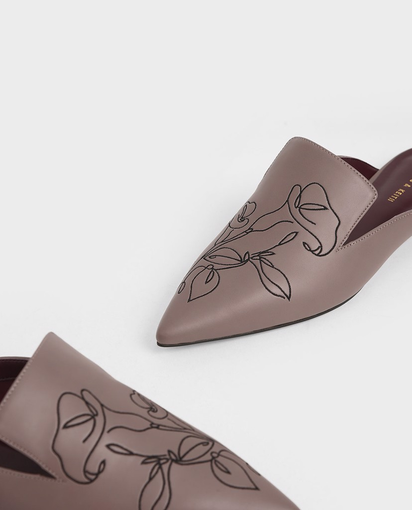 CHARLES & KEITH - Giày đế bệt Floral Embroidered Pointed Toe