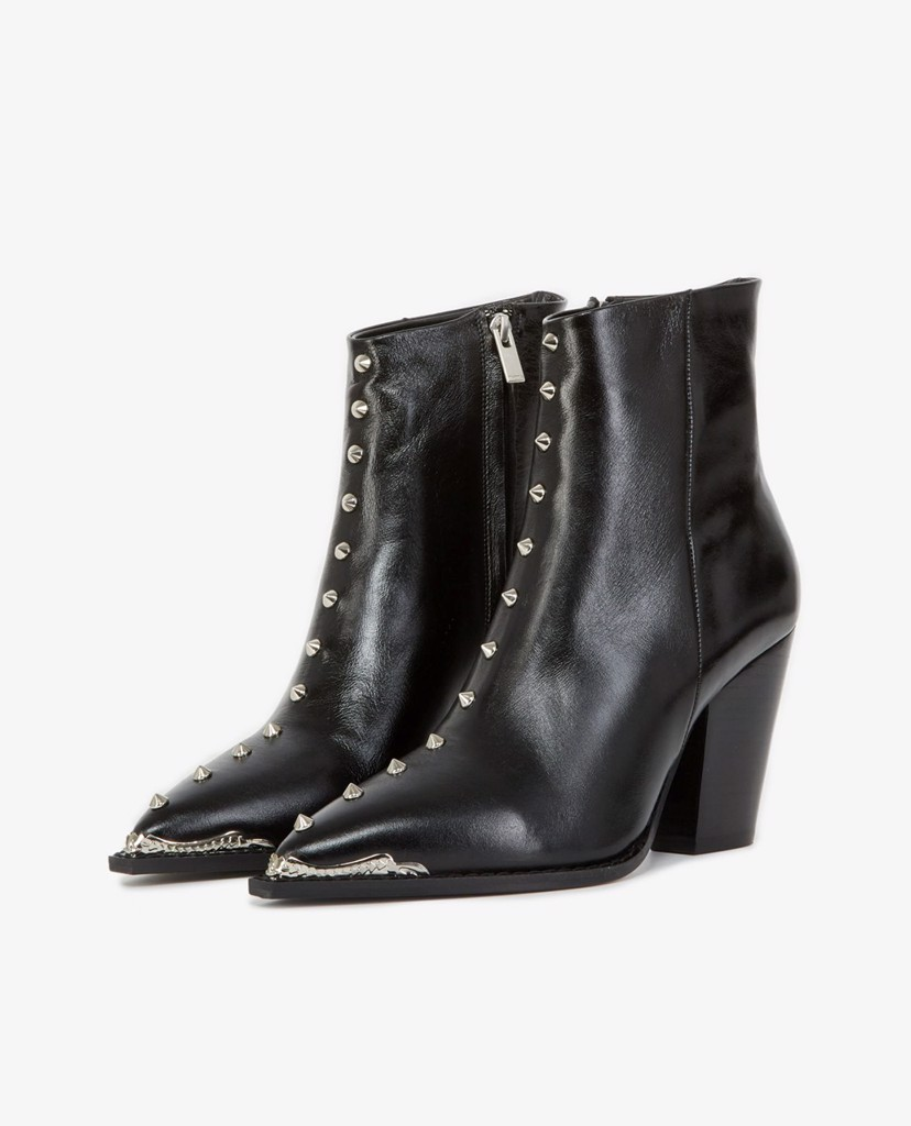 THE KOOPLES - Giày boots nữ mũi nhọn Black Leather With Studs