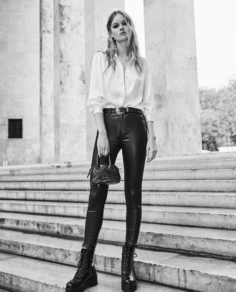 THE KOOPLES - Quần jeans nữ phom skinny Leather Effect