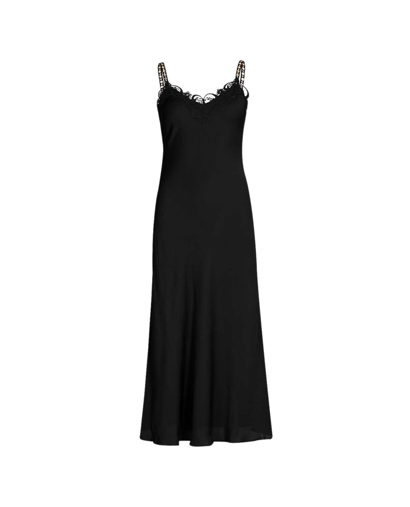 THE KOOPLES - Đầm midi hai dây Full Black