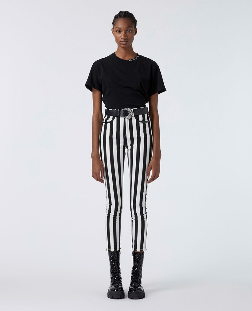 THE KOOPLES - Quần jeans nữ phom ôm Black And White Striped