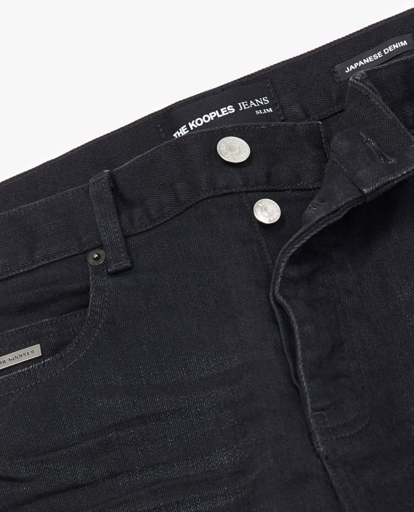 THE KOOPLES - Quần jeans nam phom slim fit Raw Edge