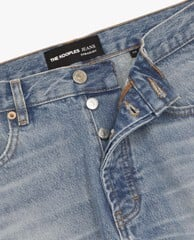 THE KOOPLES - Quần jeans nam denim wash bạc Straight Cut Faded