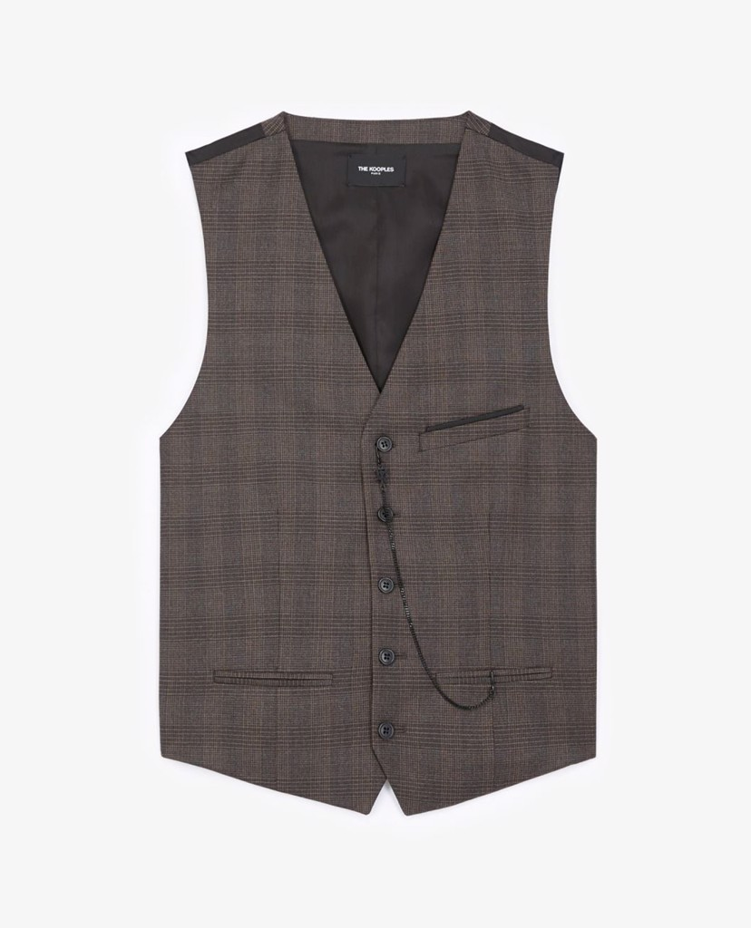 THE KOOPLES - Áo ghile nam Brown Wool Check