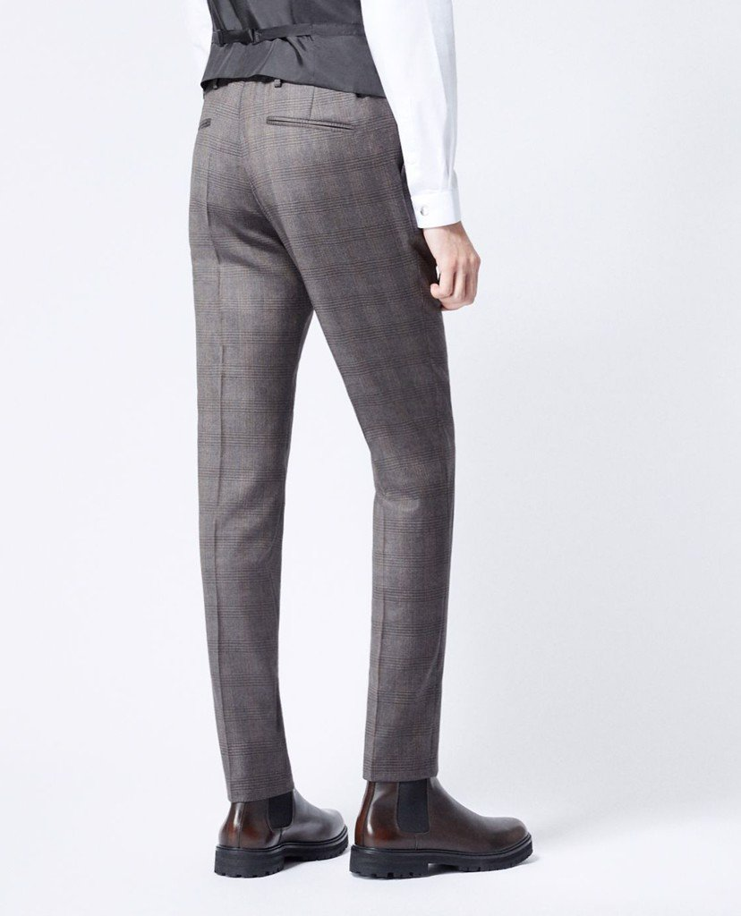 THE KOOPLES - Quần tây nam ống đứng Grey Wool Check Suit