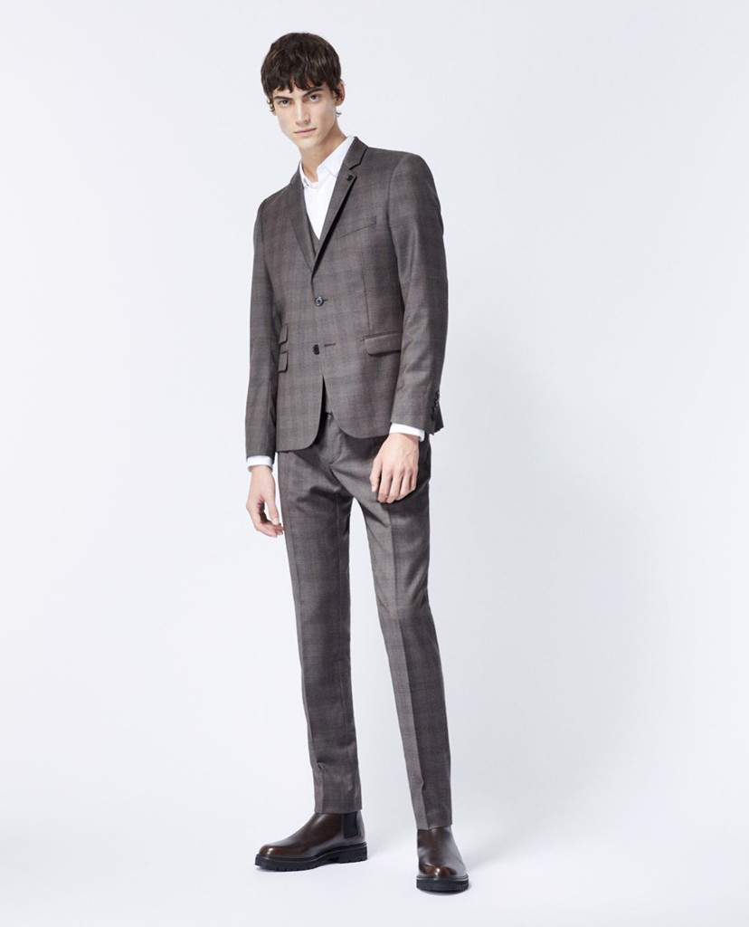THE KOOPLES - Áo blazer nam Grey Check Wool