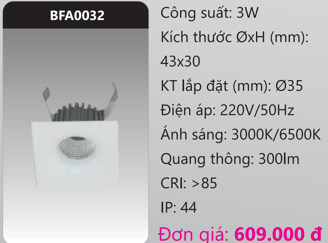 ĐÈN LED DOWNLIGHT ÂM TRẦN MINI DUHAL 3W BFA0032