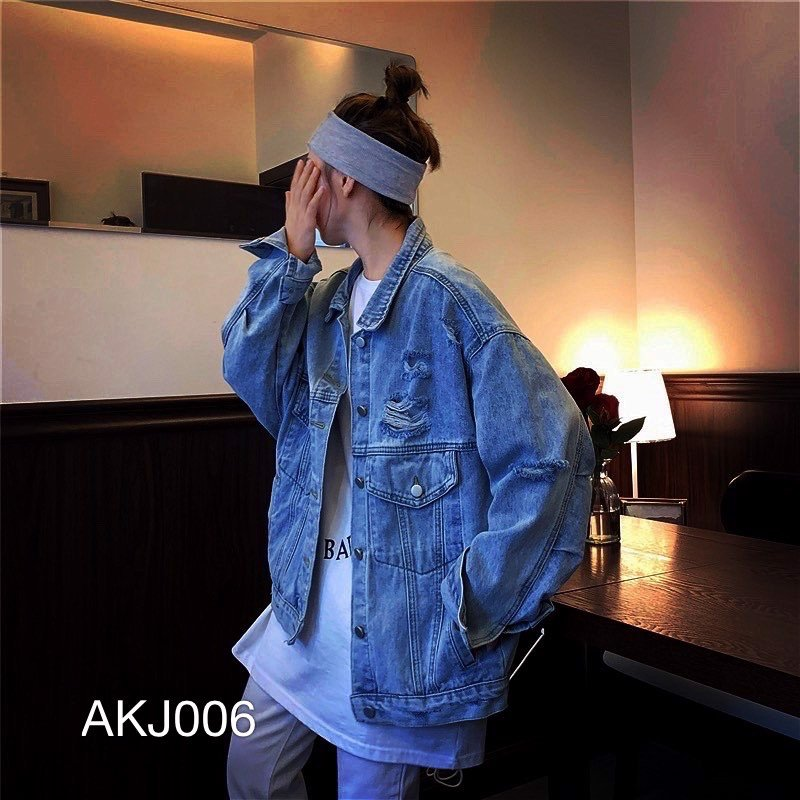 AKJ006 - JACKET JEAN WASH XANH
