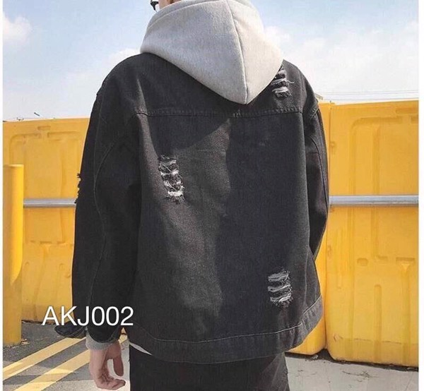 AKJ002 - JACKET JEAN DENIM BLACK STRIPEDCUT