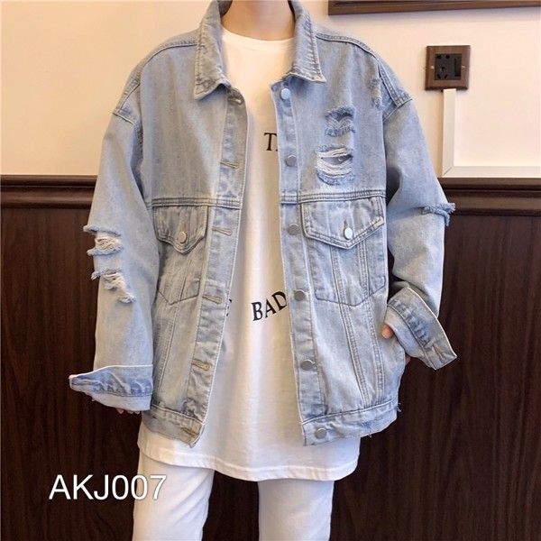 AKJ007 - JACKET JEAN WASH BẠC