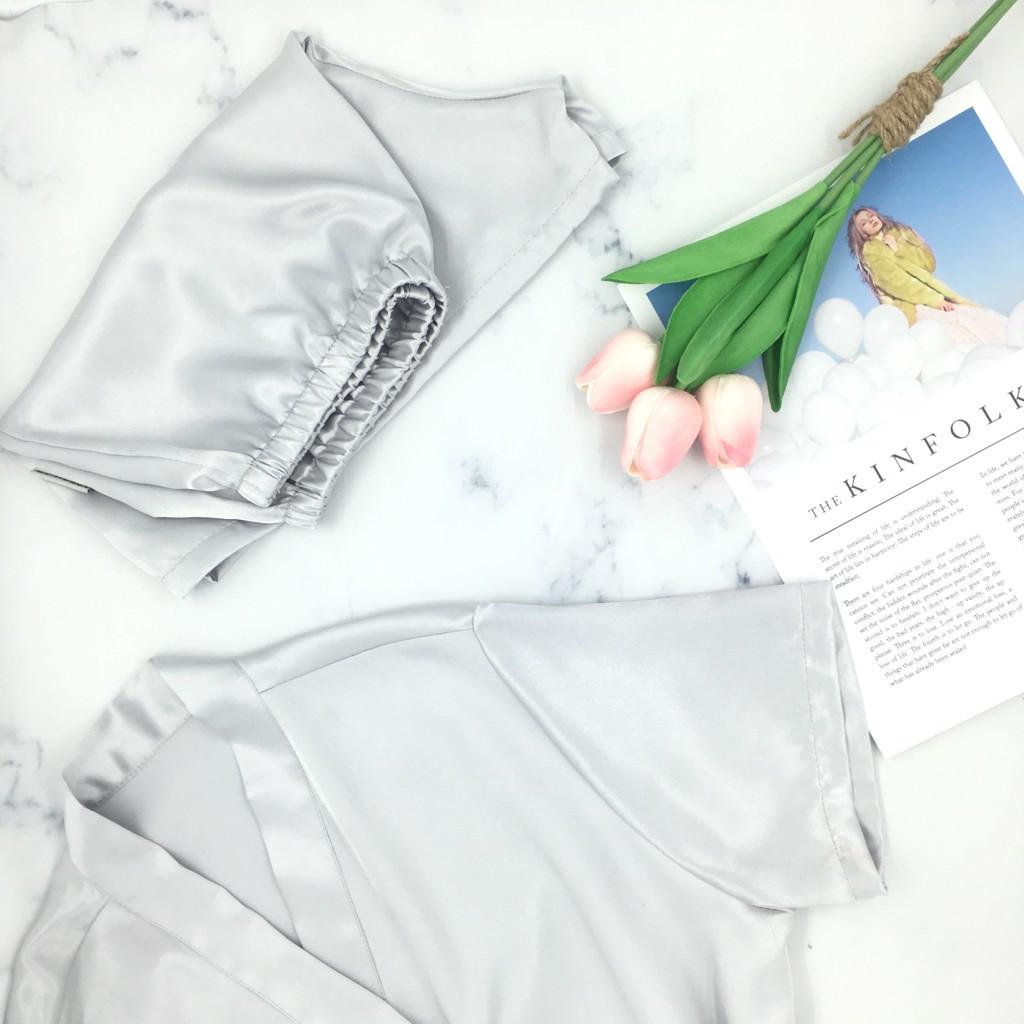 Pyjama vạt chéo tay lỡ Ladali - Xám