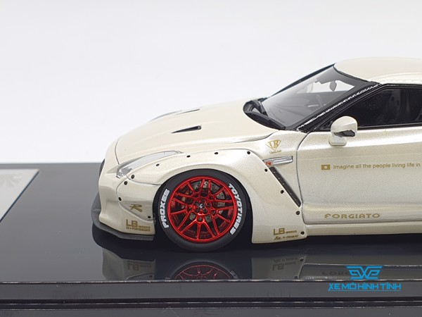 XE MÔ HÌNH NISSAN GTR R35 LB WORKS LIBERTY WALK 1:43 ONE MODEL (PEARL WHITE)