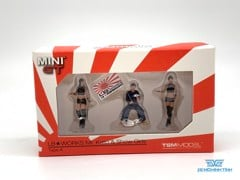 Figure Mr.Kato & Show Girls Type A 1:64 MiniGT ( 3 Figure + cầm cờ )