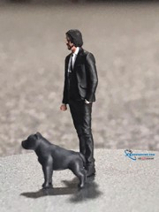 Set Figure John Wick và chú chó Pitbull 1:64 Nanoer High Quality Resin Miniature