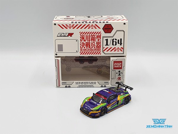 Xe Mô Hình Audi R8 LMS Super GT 2020 #33 EVA RT Test Type-01 X Works R8 1:64 Pop Race ( Tím )