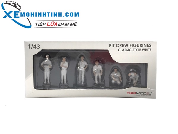 PIT crew figurines classic style white ( set of 6) TSM 1:43 (Trắng)