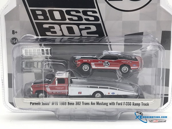 Ford F-350 Ramp Truck With #15 1969 Trans Am Mustang GreenLight 1:64 (Đỏ)