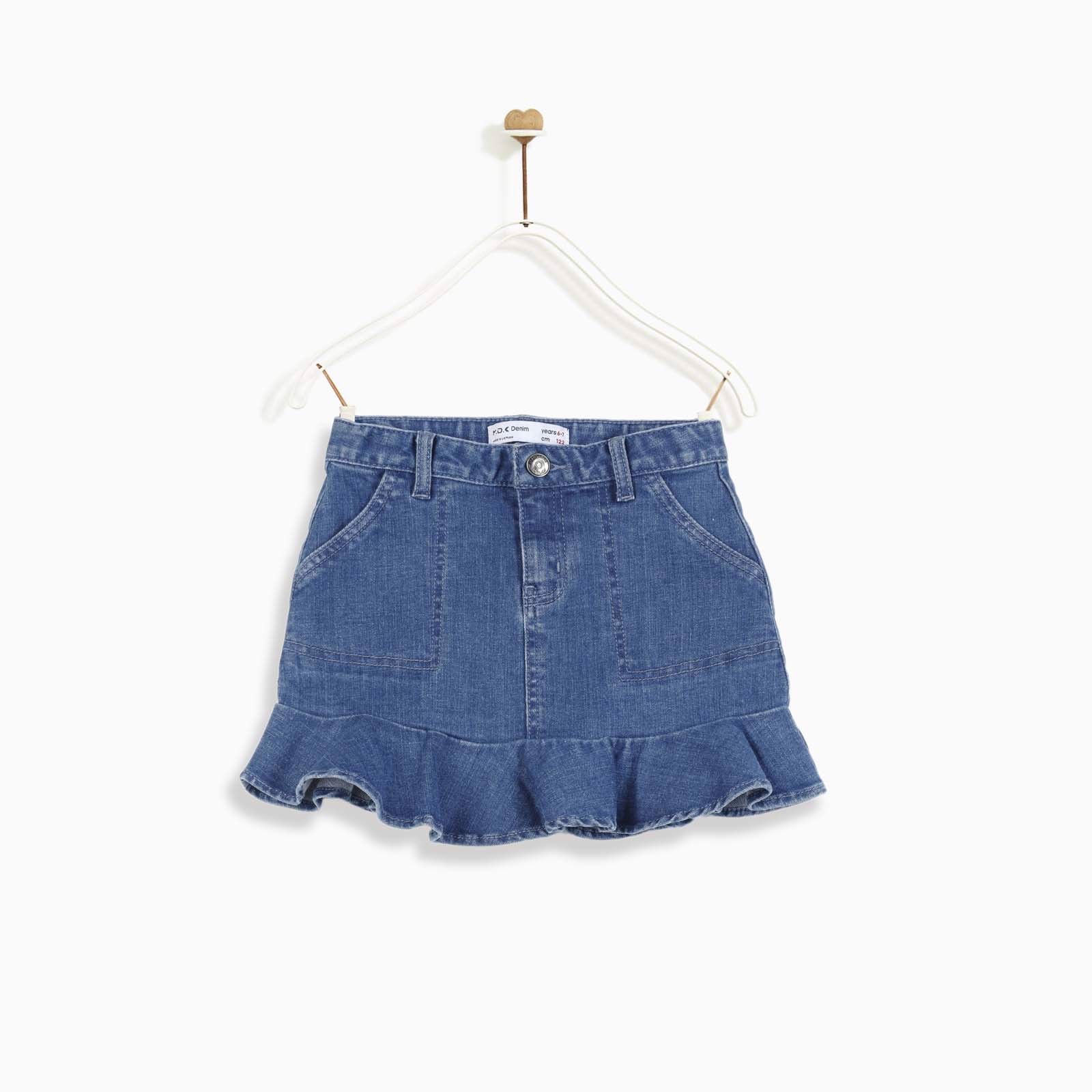 Chân váy Pull-on denim ruffle