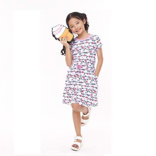 Áo đầm tay ngắn thắt eo Printed Dress (Printed dress with contrast color piping)