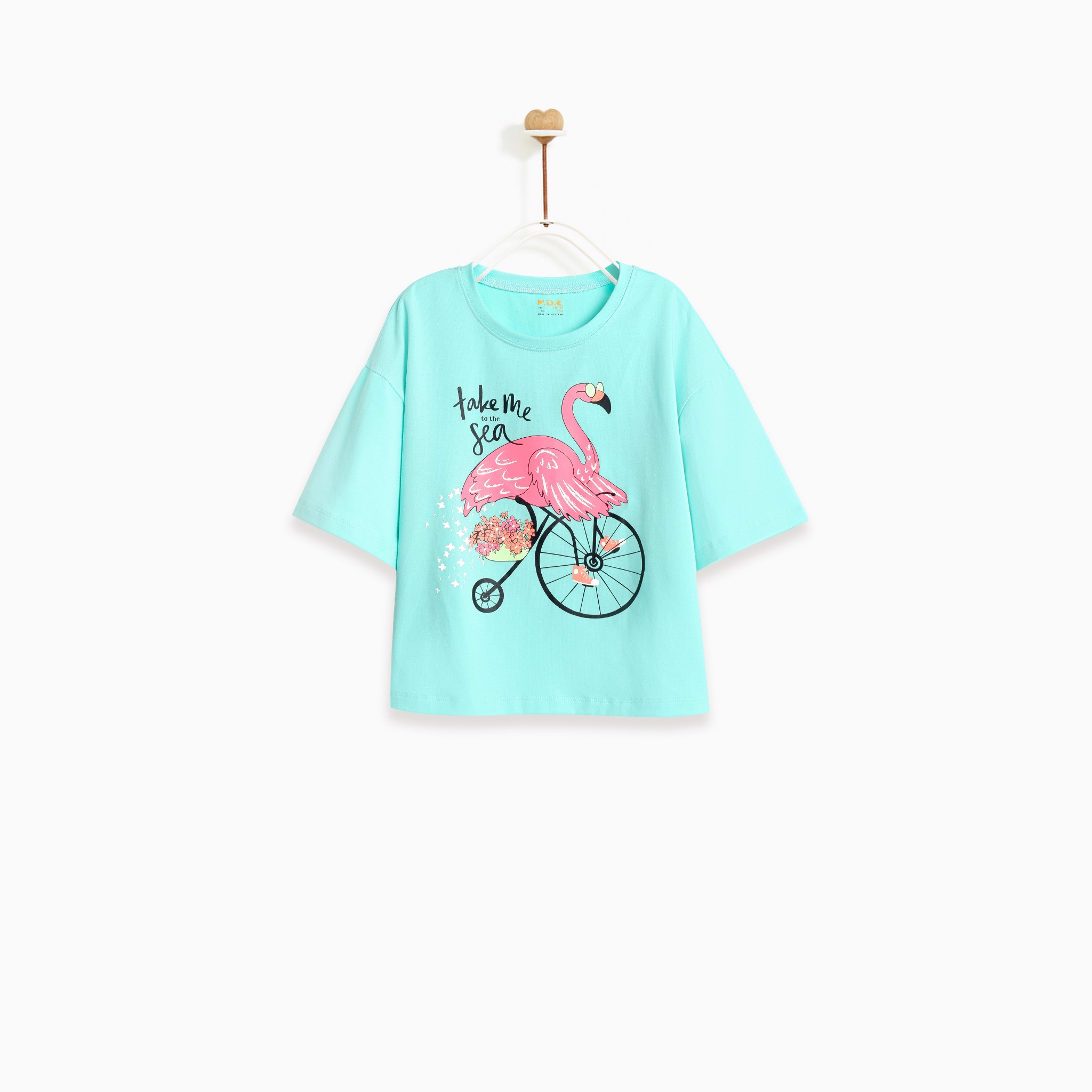 Áo bé gái - Flamingo ride bicycle