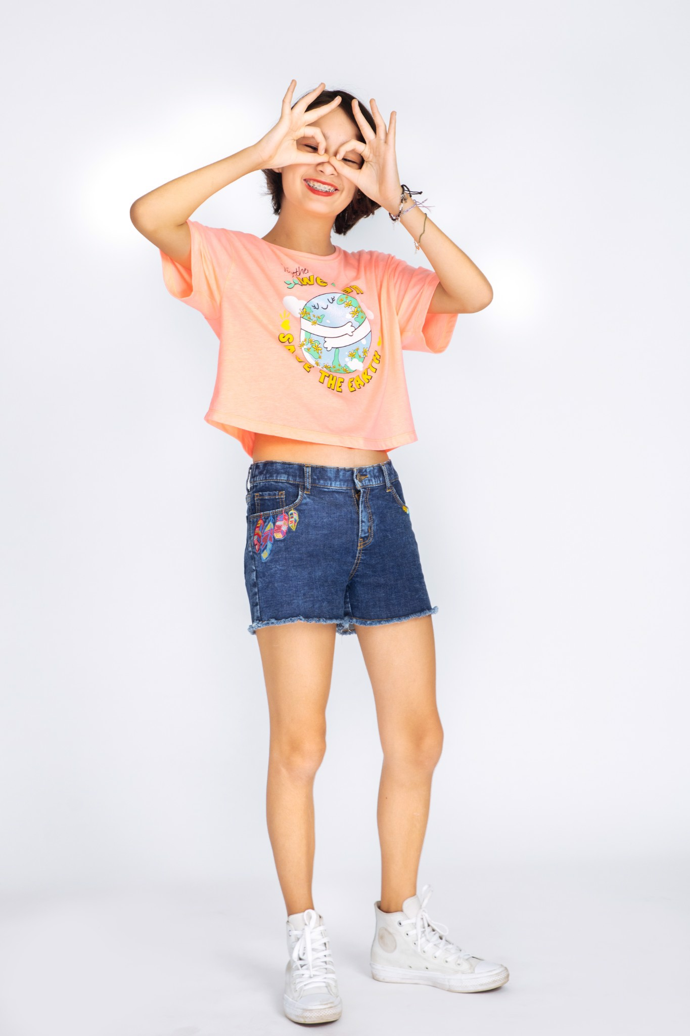 Quần Short Bé Gái Boho embroidered pull on shorts