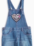 Quần Yếm Bé Gái M.D.K Sequin heart patch pocket denim overall short