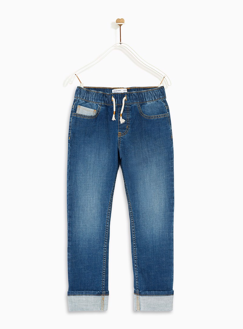 Quần bé trai Pull-On Denim Relaxed Fit Roll Up