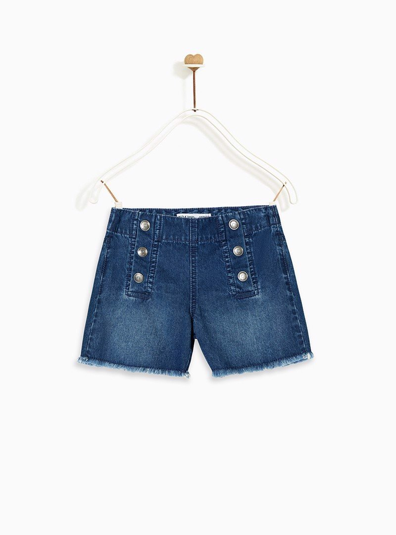 Quần short bé gái Pull-On Denim with Frayed Hem