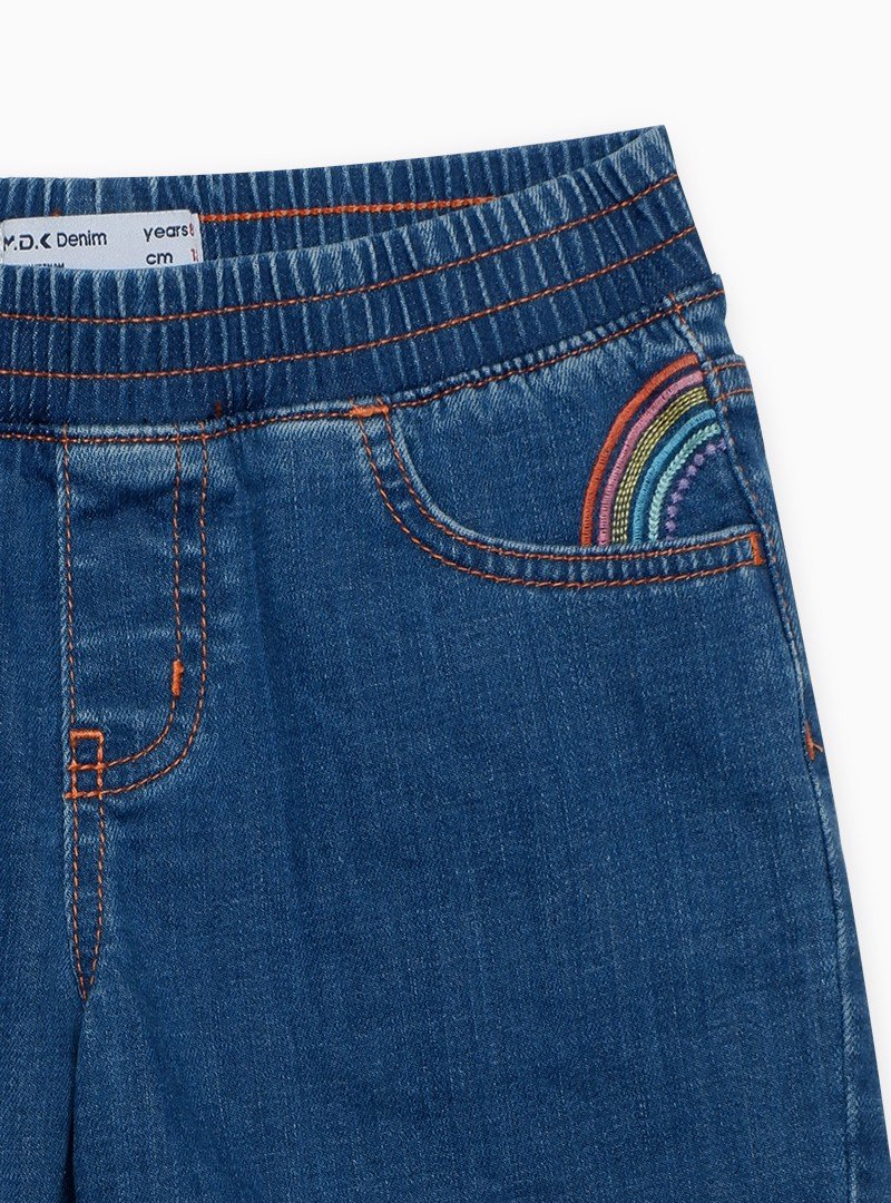 Quần Short Bé Gái Rainbow embroidered pull on shorts