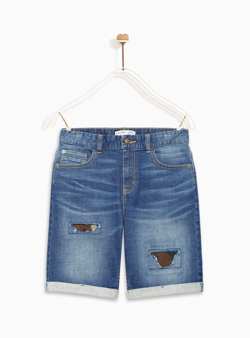 Quần Short Bé Trai Ripped normal waist denim bermuda