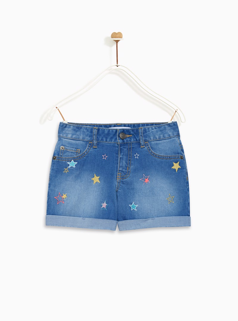 Quần Short Bé Gái Roll up normal waist short with heart patch back pockets