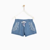 Quần short M.D.K Bé Gái - Embo Fancy Shorts - Chamray light wash