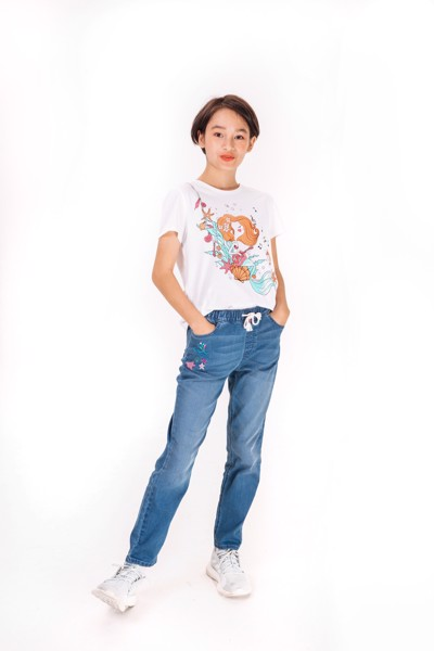 Quần Dài Bé Gái M.D.K Embroidered pull on skinny jeans